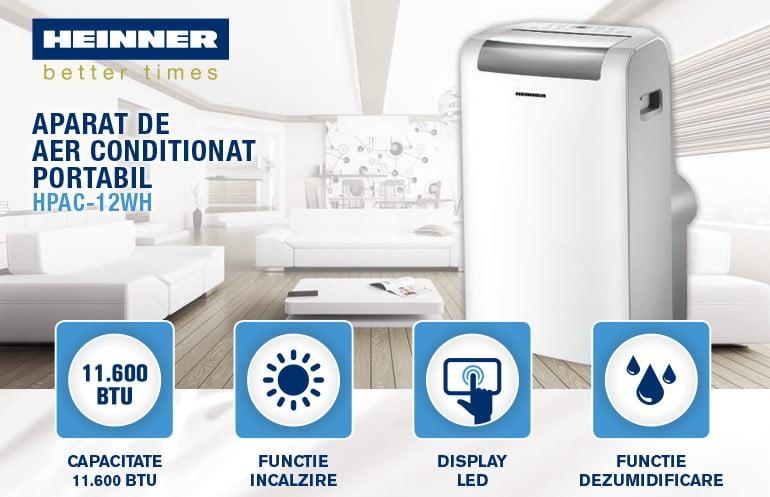 Aer conditionat portabil Heinner HPAC-12WH 11600 BTU